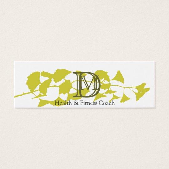 Nature - Bold Gold Ginkgo Monogram on White Mini Business Card