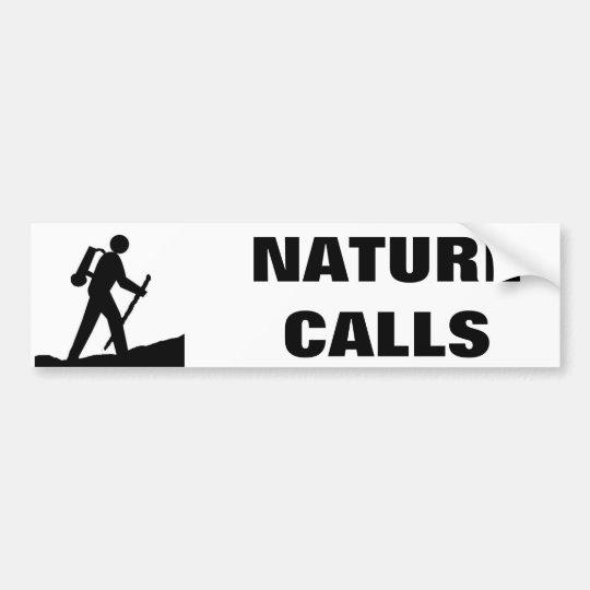 Nature Calls Stick Figure Cartoon Bumper Sticker