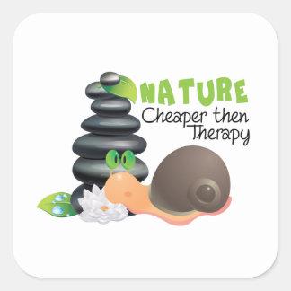 Nature - cheaper then therapy square sticker
