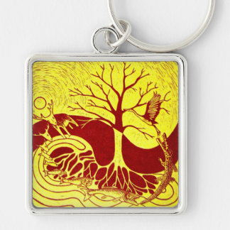 Nature Cycle Yellow key fob Silver-Colored Square Key Ring
