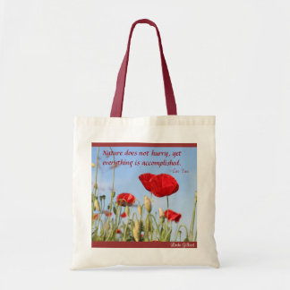 Nature does not Hurry .poppies sky, Linda Gilbert Budget Tote Bag