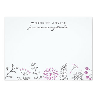Nature doodle purple baby shower advice card 11 cm x 16 cm invitation card