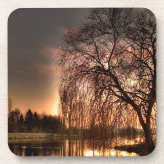 Nature Dusk After Glowing Reflection Beverage Coasters
