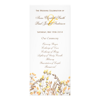 Nature fall Wedding Program Customized Rack Card