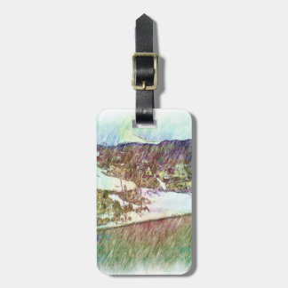 Nature forest and houses luggage tag