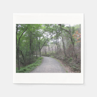 Nature Forest Road with Curve Napkins Paper Napkins