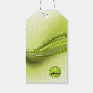 Nature Green Modern Waves Monogram Gift Tags