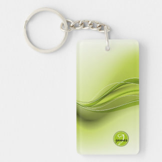 Nature Green Modern Waves Monogram Key Ring