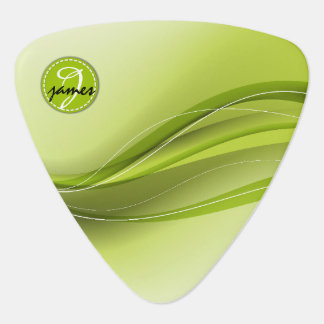 Nature Green Modern Waves Monogram Plectrum