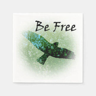 Nature Green Trees Bird Soaring Crow Be Free Disposable Serviette