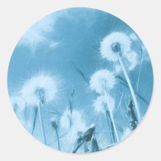 Nature in Blue - dandelion flowers Classic Round Sticker