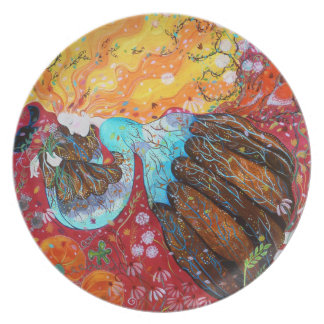 Nature Lady and the Seasons of the Year. Dinner Plate