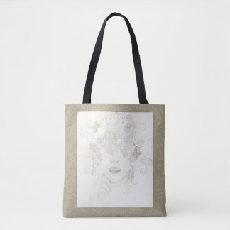 Nature Lady in Gold Glitter, All Over Print Tote Tote Bag