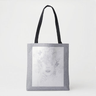 Nature Lady in Silver Glitter, All Over Print Tote Tote Bag