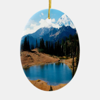 Nature Lakeside Natures Mountain Ceramic Oval Decoration