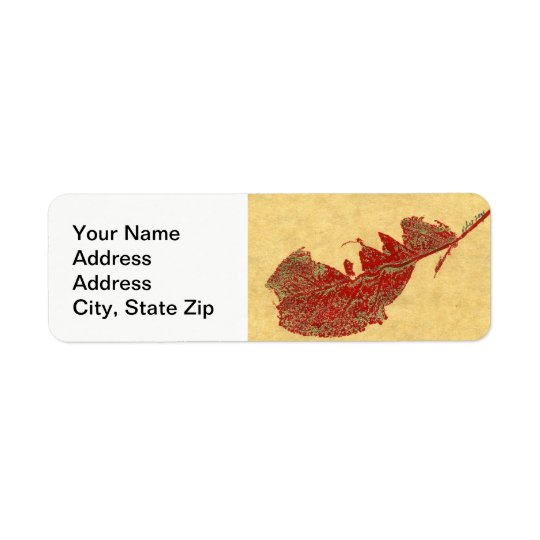 Nature Leaf Print, broken fall leaf in red, green. Return Address Label