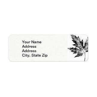 Nature Leaf Print, large black maple leaf. Return Address Label