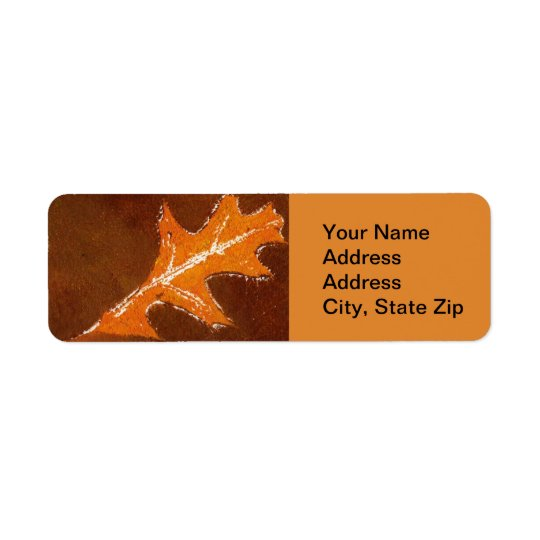 Nature Leaf Print, Orange on Brown Oak Return Address Label
