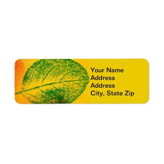 Nature Leaf Print, spring apple #4 leaf in green. Return Address Label