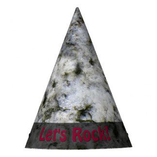 Nature Lets Rock Geology White Granite any Text Party Hat