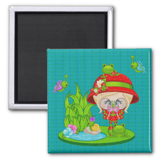 Nature Lover Frog Faery Square Magnet