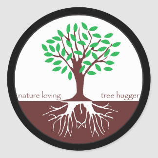 Nature Loving Tree Hugger Classic Round Sticker