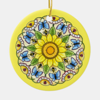 Nature Mandala Round Ceramic Decoration