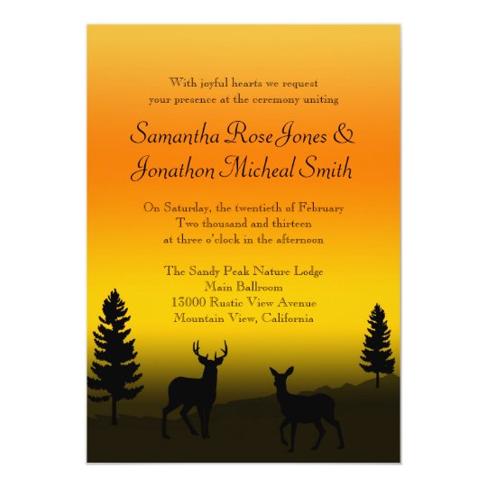 Nature Mountain Wedding Sunset Orange Invitation