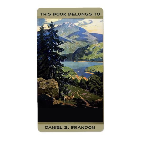 Nature mountains lake book plate ex-libris shipping label