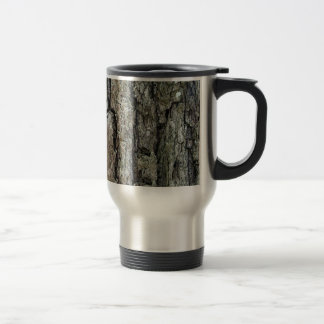 Nature Old Pine Tree Bark with Name Stainless Steel Travel Mug