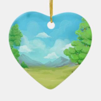 Nature painting design ceramic heart decoration
