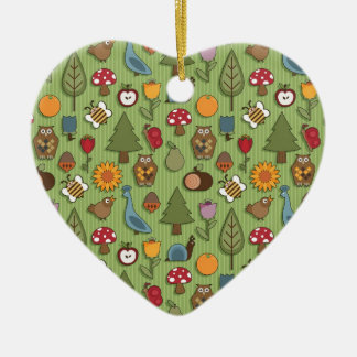 Nature pattern ceramic heart decoration