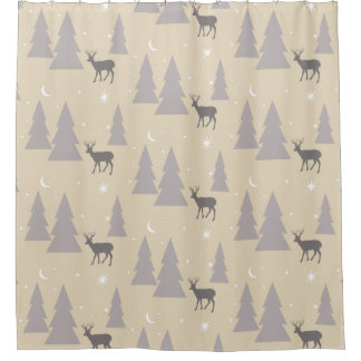 Nature Pattern Deer Trees Moon Stars Gray on Beige Shower Curtain