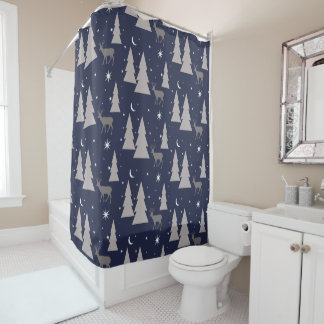 Nature Pattern Deer Trees Moon Stars Gray on Blue Shower Curtain
