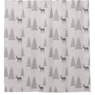 Nature Pattern Deer Trees Moon Stars Gray on Gray Shower Curtain