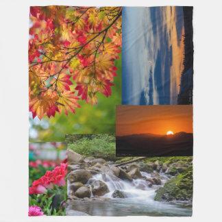 Nature Photo Collage Fleece Blanket