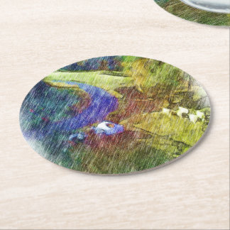 Nature photo drawing round paper coaster