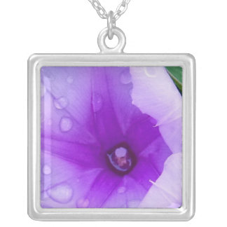 Nature purple tears silver plated necklace