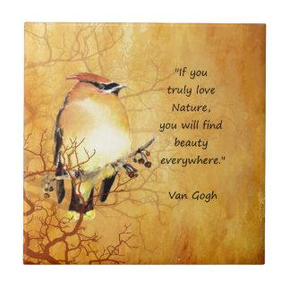 Nature Quote with Cedar Waxwing Bird Art Tile