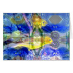 Nature Reflections I - Gold & Blue Birds Greeting Cards