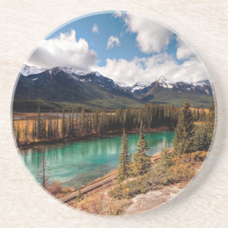 Nature River Blue Lagoon Mountains Drink Coaster