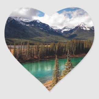 Nature River Blue Lagoon Mountains Heart Sticker