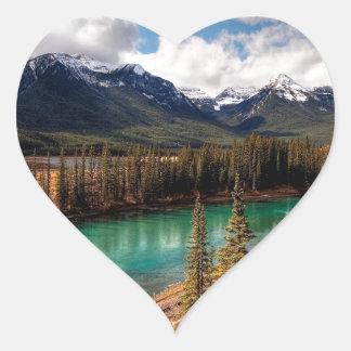 Nature River Blue Lagoon Mountains Heart Sticker