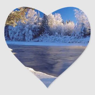 Nature River Ice Flow Heart Sticker