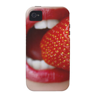 Nature s Candy - Woman Eating Strawberry Case-Mate iPhone 4 Covers