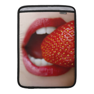 Nature s Candy - Woman Eating Strawberry MacBook Sleeve