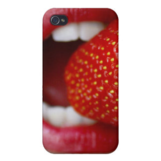 Nature s Candy - Woman Eating Strawberry iPhone 4 Case