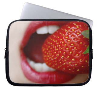 Nature s Candy - Woman Eating Strawberry Laptop Sleeve