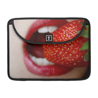 Nature s Candy - Woman Eating Strawberry MacBook Pro Sleeves
