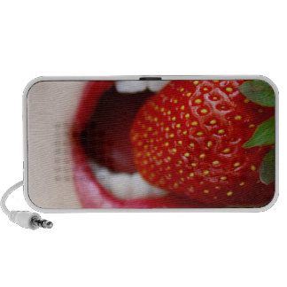 Nature s Candy - Woman Eating Strawberry Travelling Speakers